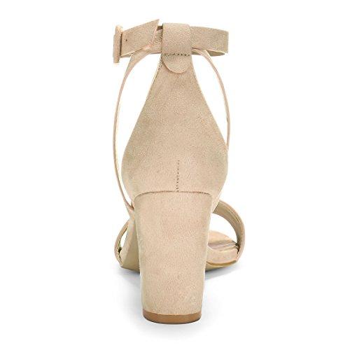 Allegra K femmes Panneau PU talon sandales bride Beige