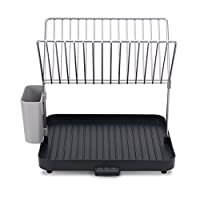 Joseph Joseph 85084 Y-rack Dish Rack and Drainboard Set with Cutlery Organizer Drainer Drying Tray Large for Kitchen, Gray