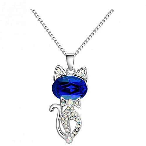 Collier chat cristal swarovski elements plaqué or blanc Bleu roi
