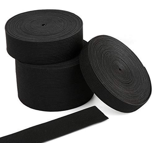 Agoer Gummiband 15-25-50-mm breit,Elastisches Band Elastische Gummiband für Nähen und Haushalt DIY Handwerk (15 m) (Schwarz)