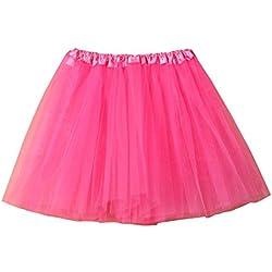Mujer Adultos Mini Falda de Ballet Skirt Princesas Tutú de Tul para Baile Disfraces Fotografía Fiesta Despedida de Soltera (C)