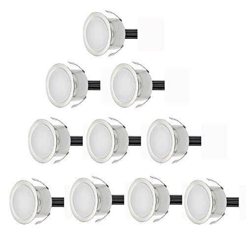 garten bodenleuchten 10er Set Ø30mm LED Bodeneinbaustrahler Aussen IP67 0.6W Wasserdichte Bodenleuchten Terrasse Einbauleuchten Warmes Weiß