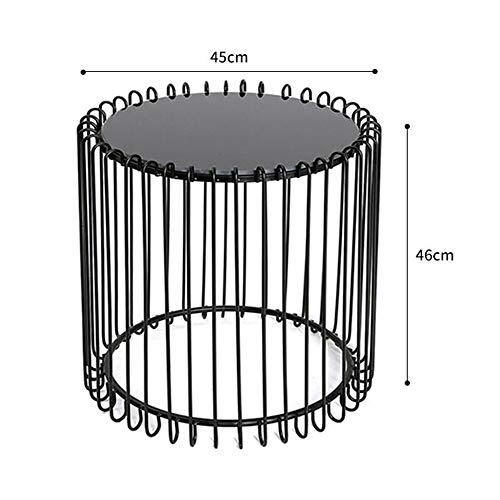 FEI Table d'appoint, table basse ronde Table d'appoint en métal noir avec plateau en verre trempé noir pour le salon, 3 couleurs (Couleur : NOIR, taille : 45×46cm)