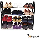 BigKart Multipurpose Foldable Shoe Rack Cabinet Organiser 4 Shelves, Black (Iron and Plastic)