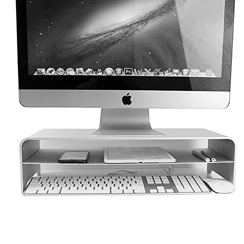 LHXHL Monitorständer, Aluminiumständer für Notebook-Standständer, Doppel-Computer-Desktop-Ständer für Mac-Standfuß - Silber (Imac 23 Desktop)