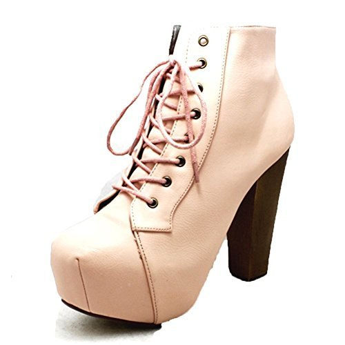 Ladies bout carré zip bottes de chaussures en haut de talon NOUVEAU pink