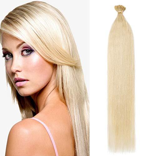 Extension capelli veri biondi con cheratina 100 ciocche estensioni i tip 50cm #60 biondo platino - 100% remy human hair keratina lunghi lisci 50g