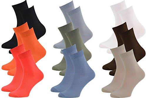 9 Paar Bambussocken Herren oder Damen, Szwarz Weiß Grau Orange Braun Jeans Beige Olive Himbeere made in 44-46 by Rainbow Socken (Socken, Weiße Jeans)