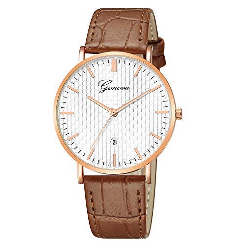 LABIUO Clearance Herrenuhr, Mode Luxus Glas Quarz Analog Kalender Fenster Kunstleder Armbanduhr(F,Einheitsgröße)