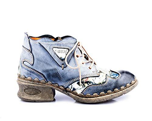 Damen Leder Comfort Knöchel Schuhe TMA 5155 Halb Schuhe Schwarz-Grau Blockabsatz Boots Gr. 38