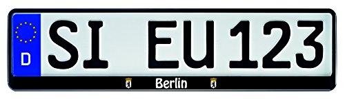 1-Paar-Kennzeichenhalter-schwarz-mit-Bundesland-Motiv-Wappen-bedruckt-Kennzeichenhalterung-Kennzeichenrahmen-Berlin