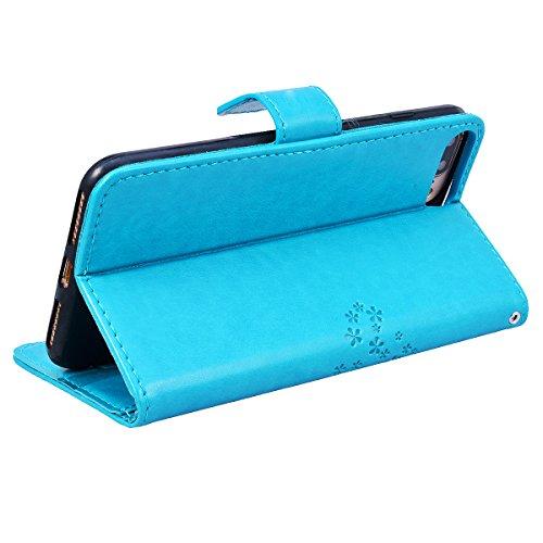 Yokata Coque iPhone 8 Plus (5.5 inch) Etui Cuir Rabat PU Motif Hibou Arbre Fente Carte Wallet Case de Carte Slots Flip Cover Fermeture Magneique Fonction Support Antichoc Interne Silicone Souple Houss Bleu