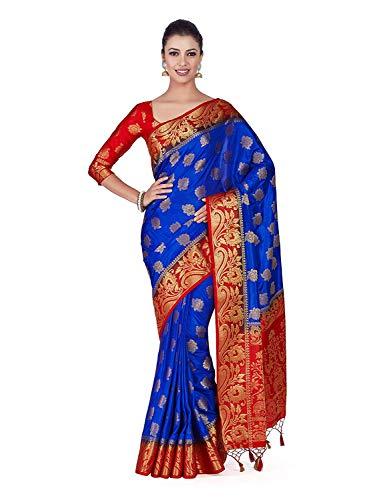 Art Silk Wedding Saree Kanjivarm Pattu Style with Contrast Blouse Color: Blue Blue Silk Sari