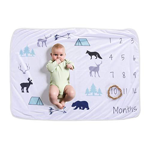 Hibote Weiche Vlies Baby Meilenstein Decke Neugeborenen Fotografie Requisiten Floral Kaninchen Monat zu Monat Decke Foto Hintergrund Tuch