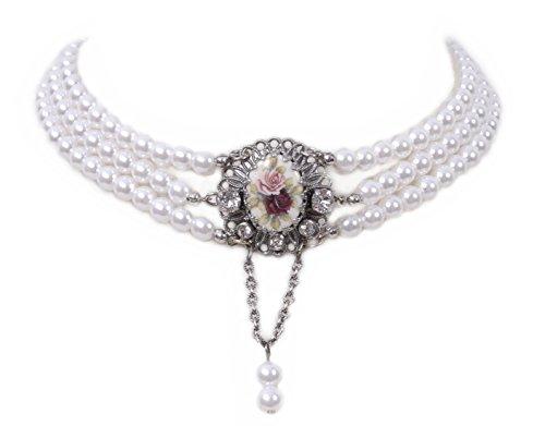Trachtenschmuck/Dirndlschmuck Damen - Kropfband Tracht Perlen/Kropfkette/Trachtenkette/Dirndlkette - Weiß/Rot/Rosa/Silber