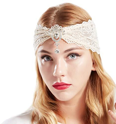 arband Damen Turban Hut mit Anhänger Kristall Brosche 1920s Stirnband Damen Exotisch Fasching Kostüm Accessoires (Weiß) ()