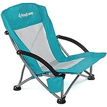 KingCamp Silla de Camping, Playa, Senderismo, Estructura Resistente, Ligera y Plegable, Respaldo de Malla, 58 × 59 × 67 cm, Color Azul