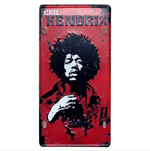 Alvéa Plaque Métallique Cinéma, Hendrix, Le parrain, Ché Guevarra et autres, Vintage,Vrai Plaque Vintage en Métal pour décoration intérieur, Chambre, Salon, café, Bar, Pub, Cuisine, Décoration Mural Vintage (Hendrix)