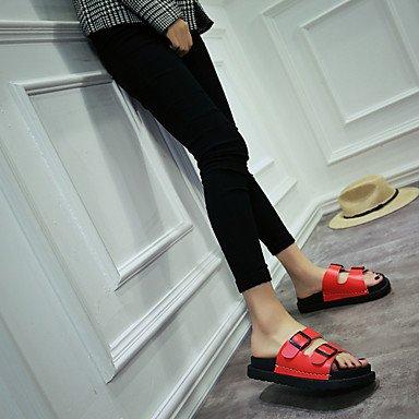 LvYuan sandali gladiatore similpelle estate vestito informale all'aperto zeppa metallica punta piedi Red