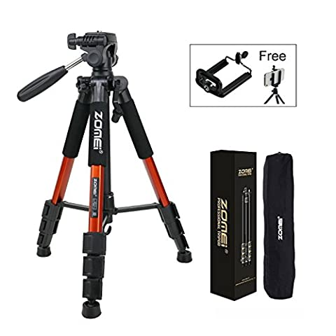 Zomei Q111 Protable 55in Pro Aluminium Compact Lightweight Camera Tripod with Pan Head and Quick Release Plate for Digital SLR Canon EOS Nikon Sony Panasonic Samsung (Orange)