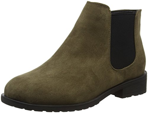 New Look Damen Wide Foot Danielle Kurzschaft Stiefel Green (dark Khaki)