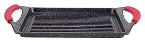 Griglia bistecchiera vulcanica,con rivestimento in pietra, nera, 46x28x7 cm euronovità EN-22141