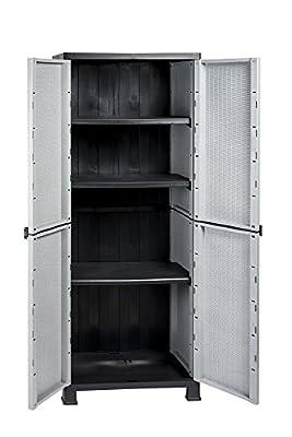 Kunststoffschrank Madera, im Rattan Design mit drei verstellbaren Einlegeboden mit jeweils 20kg Tragkraft - hohe Version von RAM auf Gartenmöbel von Du und Dein Garten