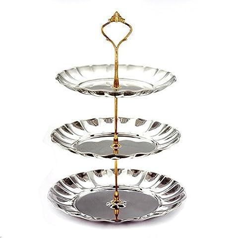 Y & B à 3étages en acier inoxydable support assiettes desserts Support fruits Gâteaux bonbons pour mariage et fête Home &