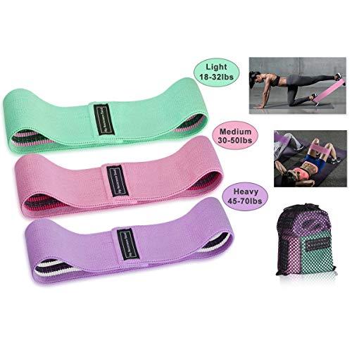 Hivexagon Fitnessbänder Stärke Booty Stoff Bänder, Resistance Hip Bands Gewebe Widerstand Bänder für Beine und Hintern, Workout Hüft Bändefr und Tragetasche inklusive, 3er-Pack/Set SP147