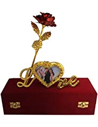 Lavanaya Silver 24K Gold Plated Red Rose with Red Velvet Box Along with Certificate and Love Stand