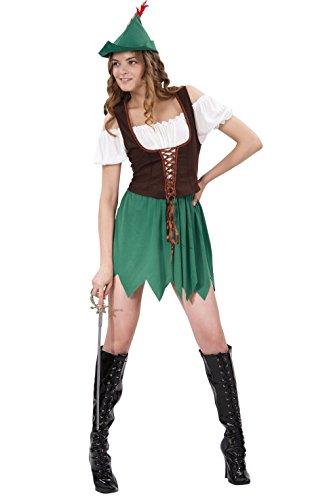 Fiori Paolo Robin Girl Costume Donna per Adulti, Verde, Taglia 40-42, 62059