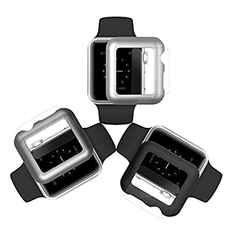 iCASEIT Apple Watch Snap-On Case & Glass 38mm (Pack of 3) Premium Slim & Light Impact & Scratch Protection (Include 3 Screen Protectors) iWatch Cases 38 mm - Black, Silver & Gray
