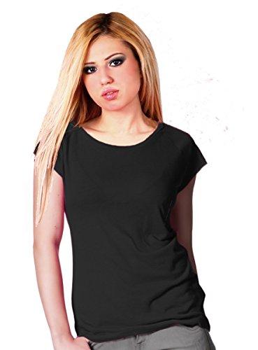 Raglan T-Shirt aus Bambusfaser und Bio Baumwolle : S, Schwarz
