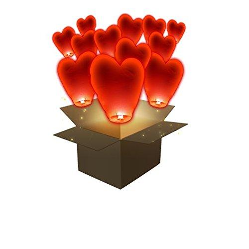 Juego de 30Linternas celestes volantes corazón SkyLantern® Original sin colada de cera, insecto flor garanti. Color: Rojo