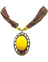 Muccasacra Best Selling Indian Hand Crafted Yolk Medallion Beads Stone, Resin, Brass Necklace
