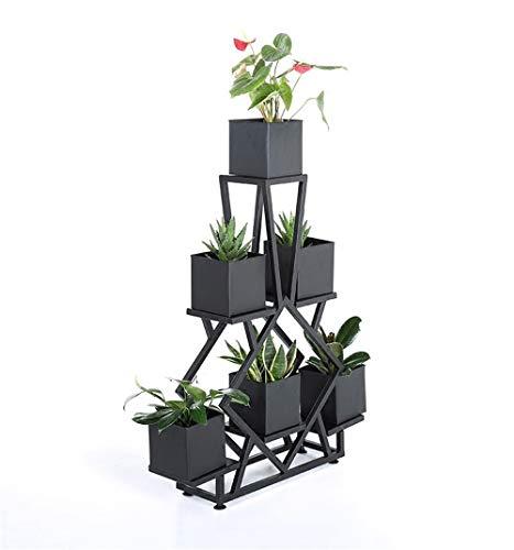 HShj Schwarz Metall Pflanze Blumenständer, Wohnzimmer Schlafzimmer Balkon Dekoration Bodenständer, Moderne Blumentopfständer Display Topf Rack 6 Eisen Box