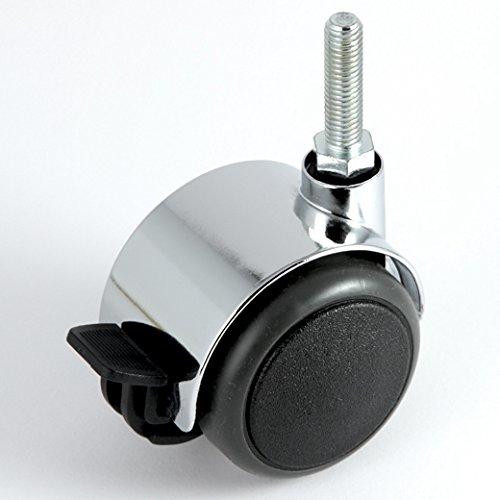 Grau Harte Böden (Möbelrolle Chrom ø 50 mm Gewinde M8 x 30 mm mit Bremse mit PU-Bereifung grau spurlos für harte Böden Hartbodenrolle)