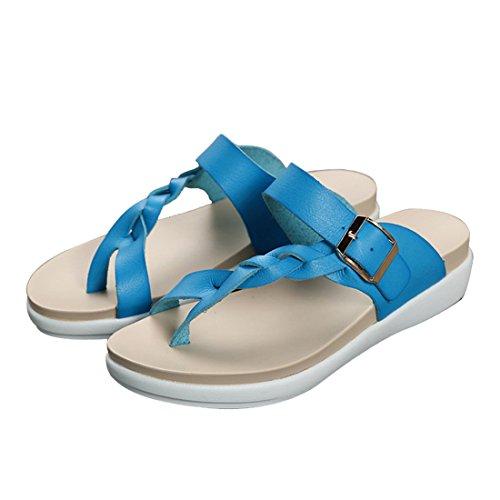 Vertvie Femme Été Pantoufles Tressé Cuir Artificiel Rétro Tongs Compensée Plate-forme Sandales Chaussons Plage Bleu
