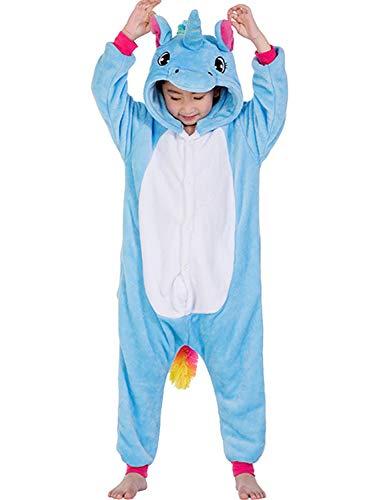 De'licorne'adulte Kostüm - Amenxi Kinder Unisex Mädchen Flanell Jungen Schlafanzug Cartoon Fleece Loose Casual Einhorn Jumpsuit Overall Cosplay Tierkostüme (Blue, Größe:120-130 cm)