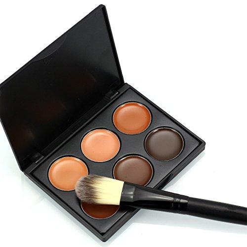 FantasyDay® 6 Couleurs de Maquillage Contour Correcteur Camouflage Palette Fond de Teint Crème Pour Cosmétique + 1PC Pinceau Maquillage Trousse #3