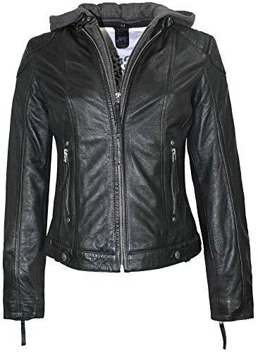 Gipsy - Damen Lederjacke Cacey Kurzjacke Bikerjacke Kapuze Lammnappa schwarz Size XXL