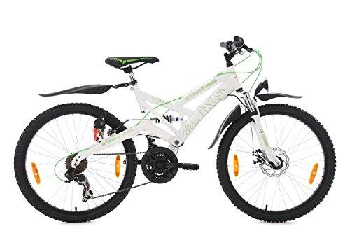 KS Cycling Jungen Mountainbike ATB Fully 24'' 4Masters weiß-grün Fahrrad, 24 Zoll -