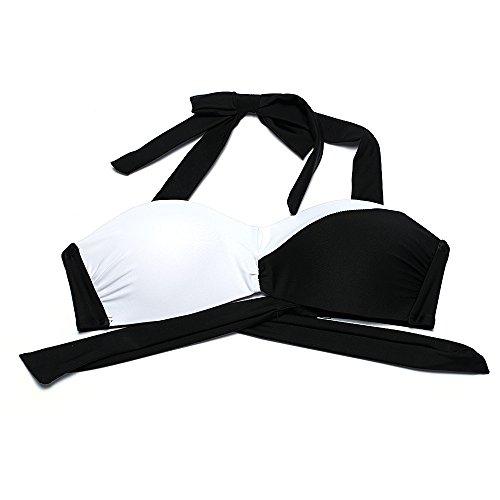 Erica Frauen-Strand-Halter-Bikinis zwei Stücke gesetztes Badeanzug-weiße und schwarze hohe Taille drahtlose Padless-Büstenhalter-Badebekleidung as figure