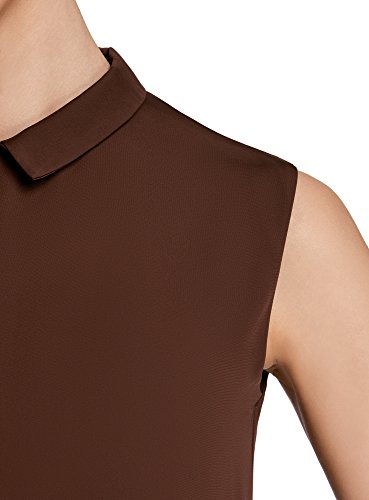 oodji Ultra Damen Ärmellose Bluse Basic mit Kragen Braun (3900N)