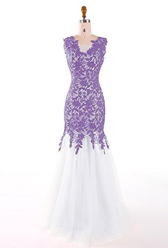 Dresstells, Robe de soirée Robe de cérémonie forme sirène/trompette en tulle dentelle Violet
