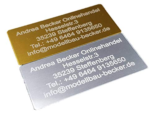 Andrea Becker Onlinehandel Adressschild / Drohnen Plakette / Drohnen Kennzeichen / Multicopter Kennzeichnung / Namensschild / Schilder mit hochwertiger Lasergravur (20x10mm, Silber)