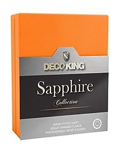 DecoKing 20500 Spannbettlaken 120 x 200 - 140 x 200 cm Jersey 100% Baumwolle Boxspringbett Spannbetttuch Sapphire Collection, orange