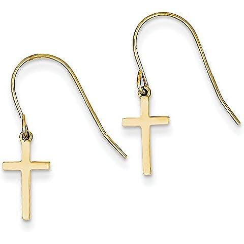 14ct Oro Pendente Croce Pastore Gancio Orecchini