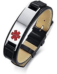 Vnox Grabado Gratis Médico Alerta Etiqueta de Identificación Personalizado Pulsera de Cuero Personalizada,Ajustable 17.5+4cm