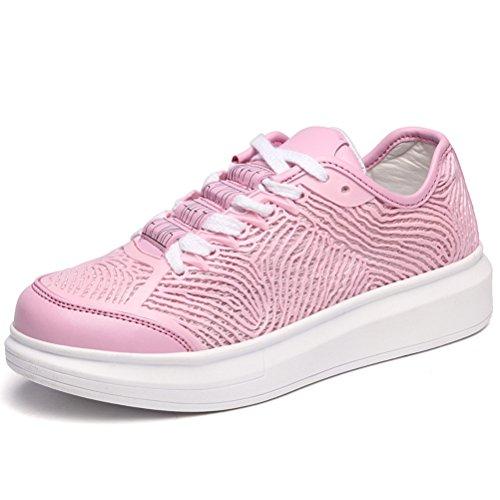 Damen Kurzschaft Runde Zehen Schnürsenkel Zebrastreifen Flache Atmungsaktive Studentinenschuhe Sneakers Pink